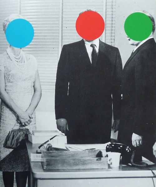 John Baldessari cut out shapes and images and fills them in with bright bold colours on top og black and white photographs. he normally uses circles to cut out people faces which look really effective and stannd out. he uses shape alot in hes pieces. he uses black and white photographs for the bright coloured shapes to stand out more to contrast as well.