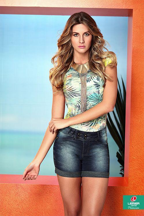 Lemier Jeans Premium | Summer 2015 | Verão 2015 | body estampado feminino; bermuda jeans feminina; jeanswear; look feminino.