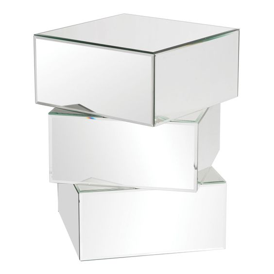 Chara Stacked Contemporary Mirrored End Table