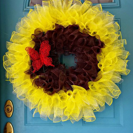 A personal favorite from my Etsy shop https://www.etsy.com/listing/232408613/sunflower-wreath-deco-mesh-wreaths-deco