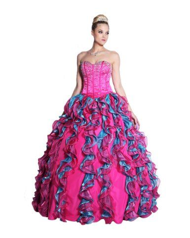 Amazon.com: Ladies Fuchsia Turquoise Jeweled Top and Ball Gown Style Dress: Clothing