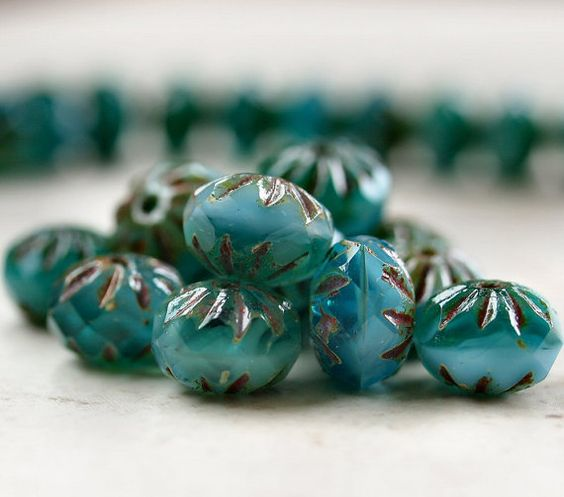 Turquoise Picasso Czech Glass Cruller Bead 9x6mm by BobbiThisnThat, $3.40