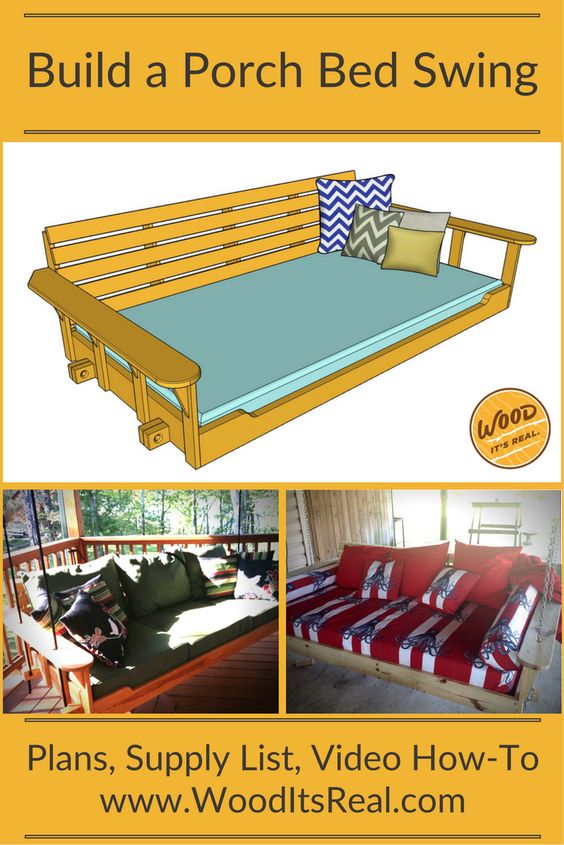 Wood it 39 s real southern yellow pine porch bed swing for How to make a pallet swing