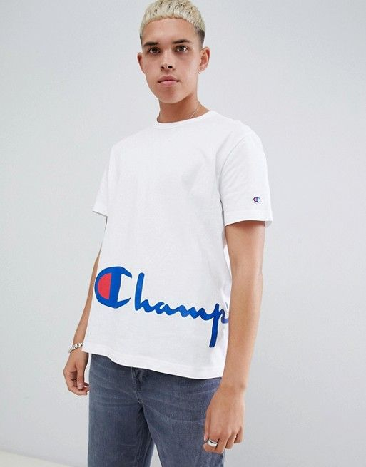 fashion style available shoes for cheap Champion reverse weave t-shirt with large script hem logo in ...