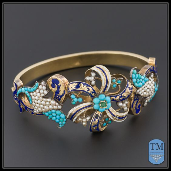 Antique Victorian Turquoise Pearl Emerald & Enamel Bracelet, 14k Gold Bangle: