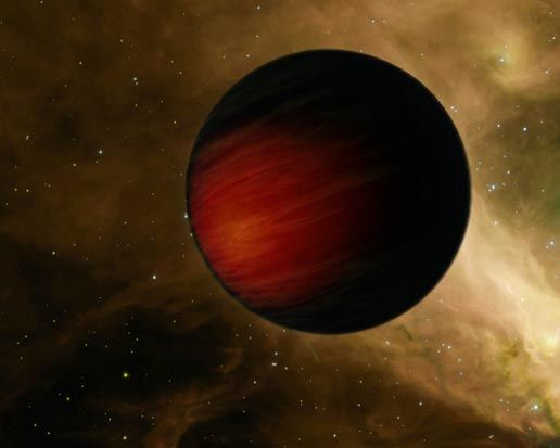 """HD 149026 b. One of the hottest & blackest planets yet discovered, the temperature on the sunny side is over 2000 degrees Celsius (3700 F), hot enough to melt iron and boil silicon. The opaque upper layers absorb almost all of its star's light, reflecting nothing. This would make the planet blacker than coal, but glowing softly as it radiates heat. (Artist impression, image: NASA/JPL-Caltech) ©Mona Evans """"Exotic Exoplanets Tour"""" http://www.bellaonline.com/articles/art32334.asp"""