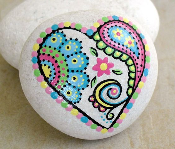 Hand Painted Abstract Heart Flower Paisley Art River Rock Stone via Etsy