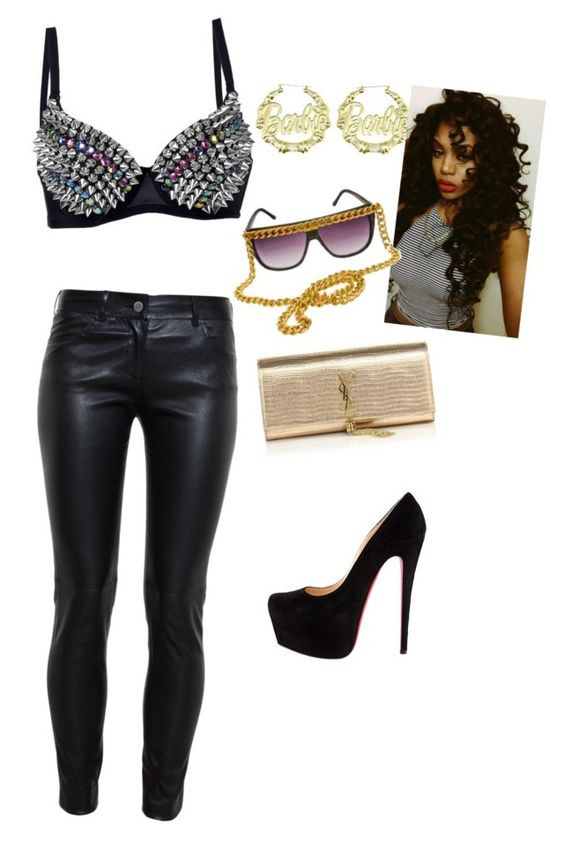 """hit the club bad b's"" by suaveroyalty ❤ liked on Polyvore featuring Balenciaga, Nicki Minaj, A-Morir by Kerin Rose, Yves Saint Laurent, women's clothing, women, female, woman, misses and juniors"