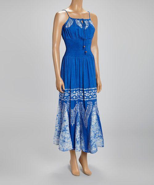 Blue Tie-Dye Smocked Maxi Dress by Fashion Terminal #zulily #zulilyfinds