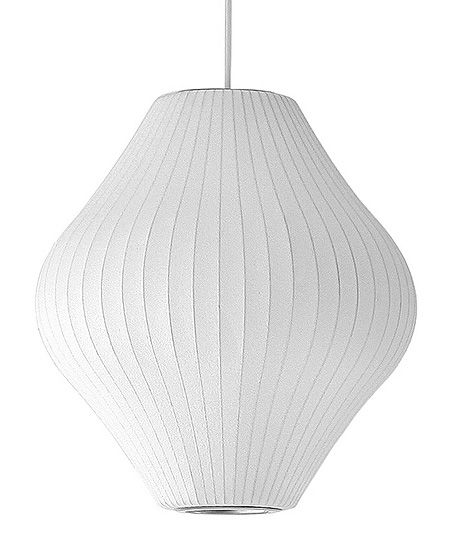 George Nelson Pear Lamp George Nelson Background: Known for his playful aesthetic, American designer George Nelson applied his creativity to many types of furnishings, creating everything from clocks and lamps to the first modular storage unit.  Iconic Piece: The Bubble Lamp, a series of white ribbed plastic lamps in futuristic shapes.