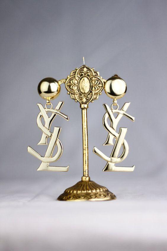 big yves saint laurent gold earrings deadstock by tsvt on. Black Bedroom Furniture Sets. Home Design Ideas