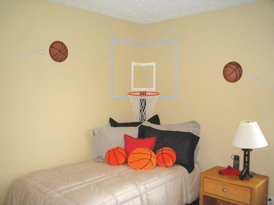 Basketball room basketball and chang 39 e 3 on pinterest for Boys basketball bedroom ideas