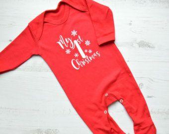 My 1st Christmas Romper or Bodysuit Christmas by CottonandBloom