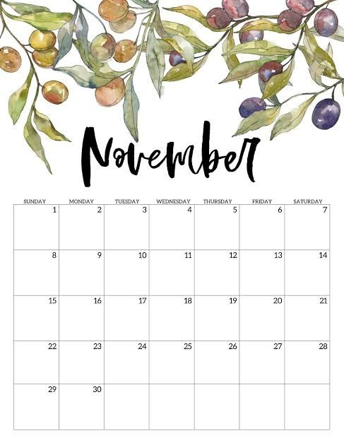Cute 2020 November Calendar Yearly Events Planner Free Printable Calendar Template In 2020 Free Printable Calendar Print Calendar Monthly Calendar Printable
