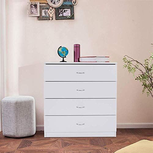 New Zipperl 4 Drawers Dresser White Wood Chest Cabinet Closet Storing Clothes Cosmetic All Kind Accessories Online Onlineshoppingoffers In 2020 Wooden Bedroom Furniture Vertical Storage Cabinet Bedroom Chest Of Drawers