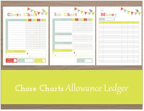 Chore chart kids chore chart printable chore chart for Allowance chart template