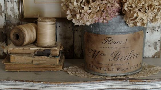 print on brown craft paper - wet to crinkle a bit, mod podge on but not over and voila - pretty aged containers!  so pretty!