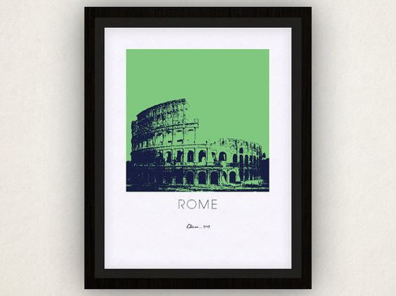 Rome Art Poster by iLikeMaps on Etsy, $20.00