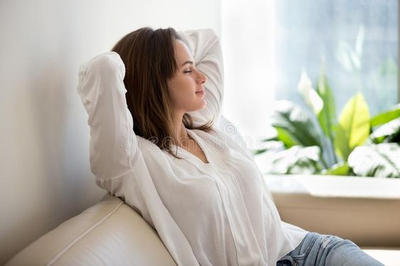 Relaxed woman resting breathing fresh air at home on sofa. Relaxed calm woman re , #Ad, #fresh, #air, #home, #breathing, #Relaxed #ad