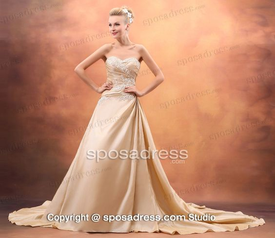 Siren Taffeta Champagne Appliqued Wedding Clothing With A Wrap: