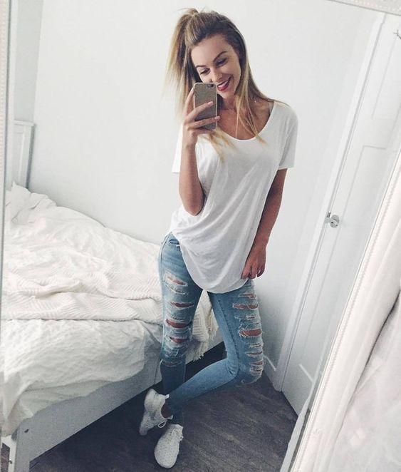 blonde, casual, clothes, fashion, kicks, nike, ripped jeans, selfie, shoes, smile, style, white tee, juvenate, melissa merk