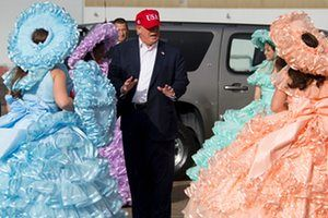 Alabama, US The president-elect, Donald Trump, greets members of the Azalea Trail Maids as he arrives in Mobile on his 'thank you tour'