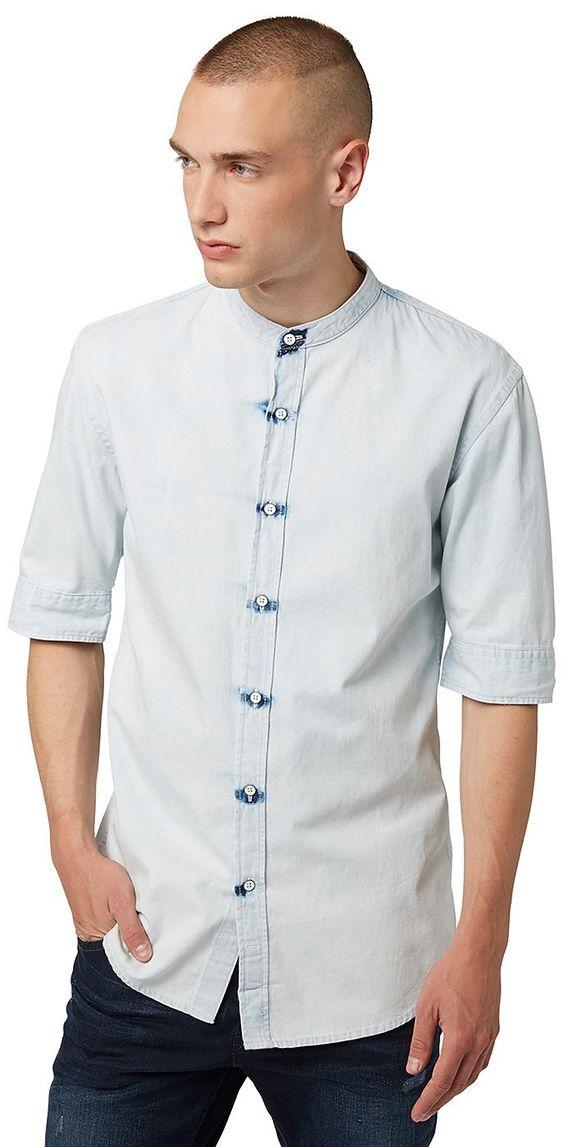 Jeans-Hemd mit Stehkragen für Männer (unifarben, Halb-Arm mit Mao-Stehkragen und Knopfleiste) aus Denim, mit Acid-Waschung für den Used-Look, Knöpfe mit Metall-Einfassung, krempelbare Ärmel für einen lässigen Style. Material: 100 % Baumwolle...