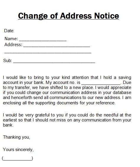Change Of Address Notice Template Words Templates