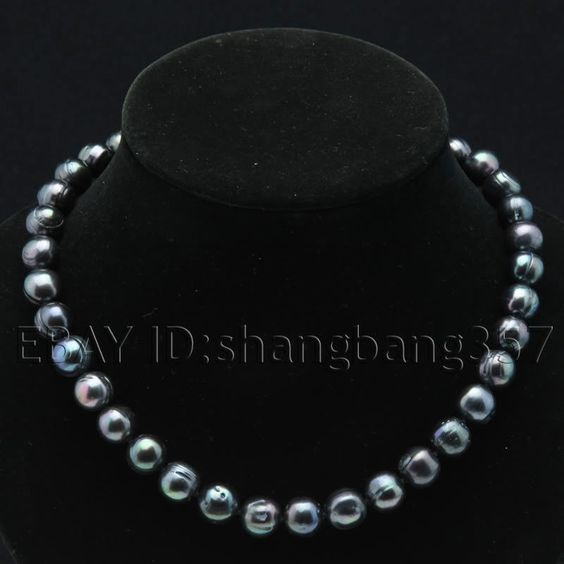 Hot 10-11mm 11-12mm white black Fresh Water Cultured Akoya Pearl Necklace s238