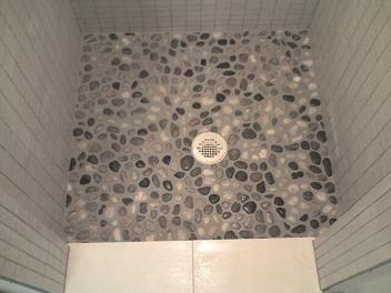 3x3 shower remodel w pebble floor tiny bathroom for Bathroom design 3x3