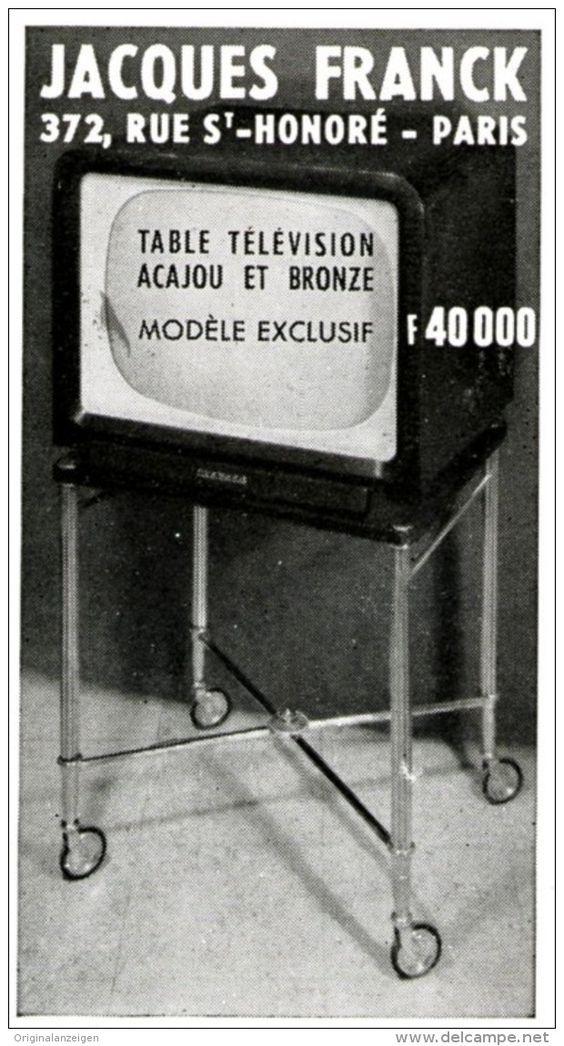 Original-Anzeige /Publicité 1957 - (en français) TABLE TÉLÉVISION / JACQUES FRANCK - PARIS - ca. 45 x 80 mm