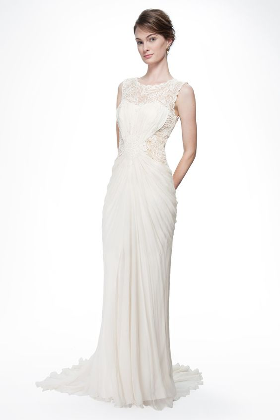 Beaded Crinkle Chiffon Gown in Cream - Bridal Suite - Wedding ...