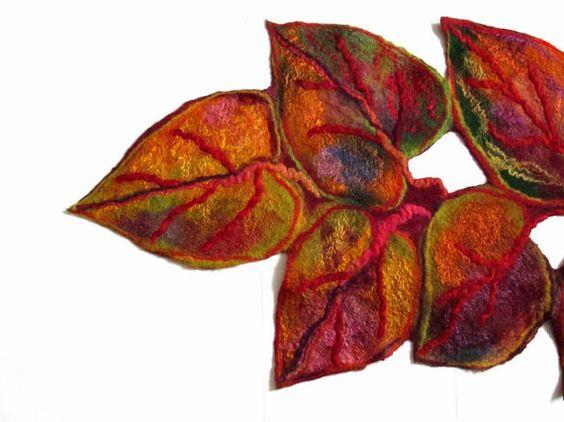 Felted scarf shawl wrap Fall leavs handmade art to by lannarfelt