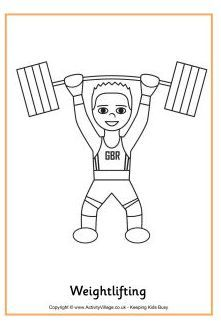 Weightlifting coloring page olympics pinterest for Weightlifting coloring pages