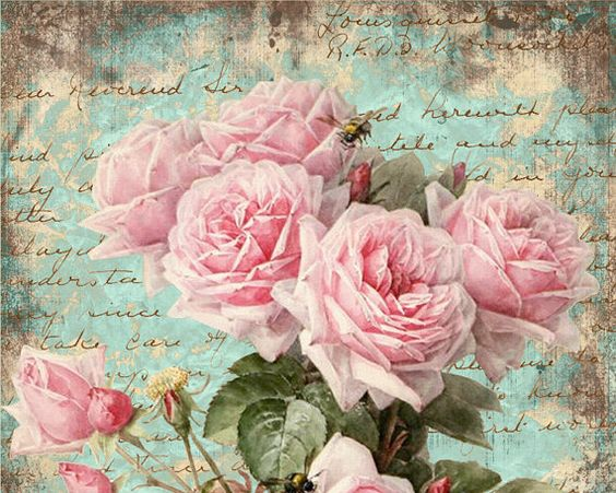 Shabby Roses Pink Greeting Cards - Digital Collage Sheet best for paper craft, jewelry holders, digital backgrounds - SHABBY ROSES FOREVER: