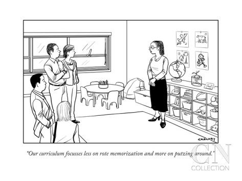 """Our curriculum focusses less on rote memorization and more on putzing aro..."" - New Yorker Cartoon Poster Print by Alex Gregory at the Condé Nast Collection"