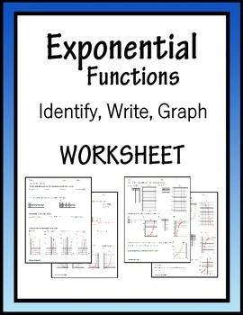 Printables Exponential Functions Worksheet algebra worksheets and on pinterest exponential functions worksheet identify write graph
