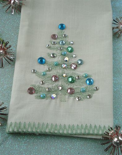 Pretty Christmas tea towel