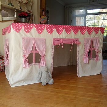 Genius! - This Fabric Playhouse goes on top of a table, making it a good size, quick to put up and easy to store.