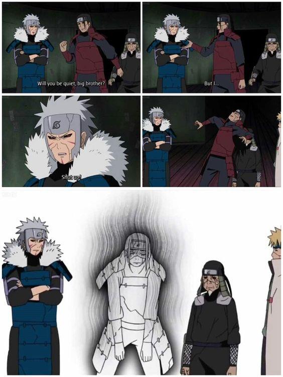 Hokages, Second Hokage, Tobirama, First Hokage, Hashirama, Third Hokage, Sarutobi Hiruzen, Fourth Hokage, Minato, funny, text, comic, quote; Naruto