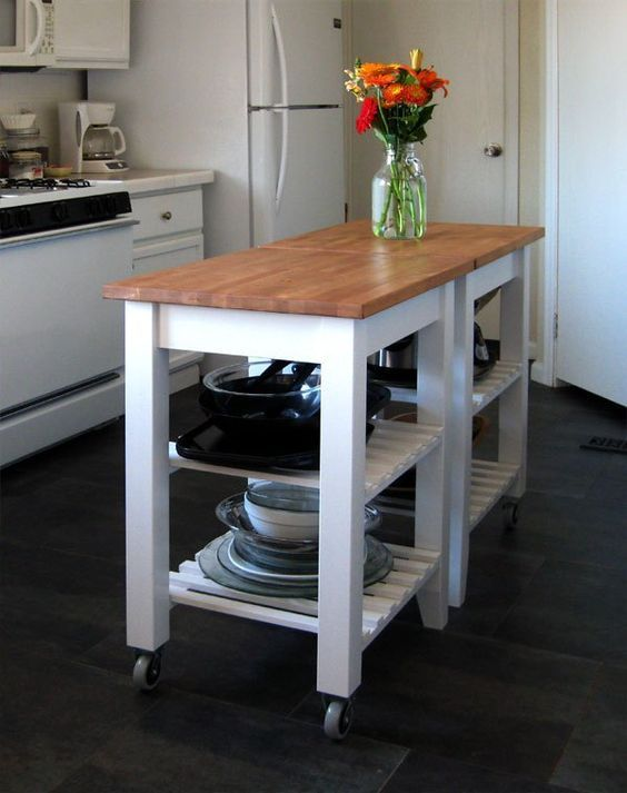 IKEA hack- two plain little kitchen islands painted and re ...