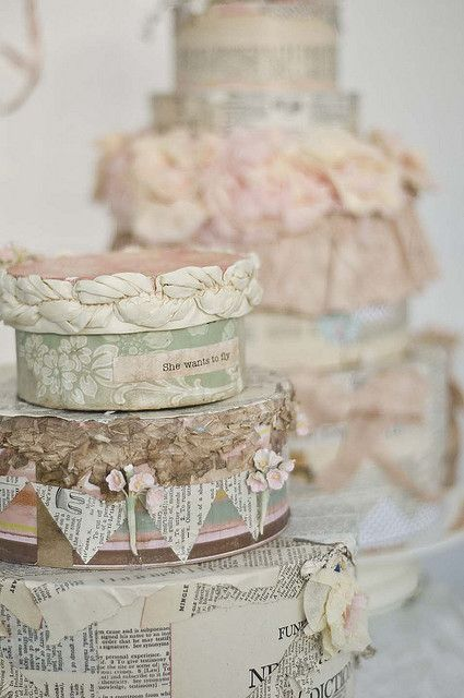 shabby chic paper cakes