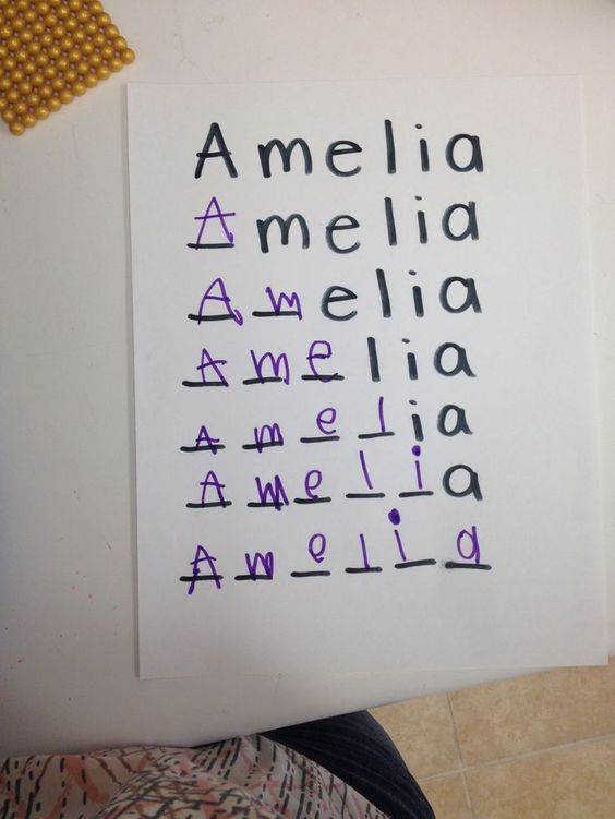 A good technique for learning how to write your name!