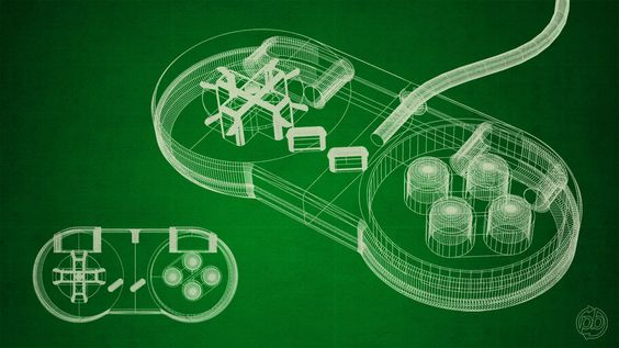 Super Nintendo Gamepad Wireframe - Lightwave 3D + Photoshop