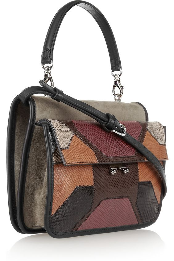 MARNI - Suede and patchwork watersnake tote