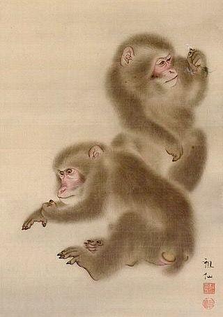 Detail. Two Monkeys. Mori Sosen. . Japanese. LACMA