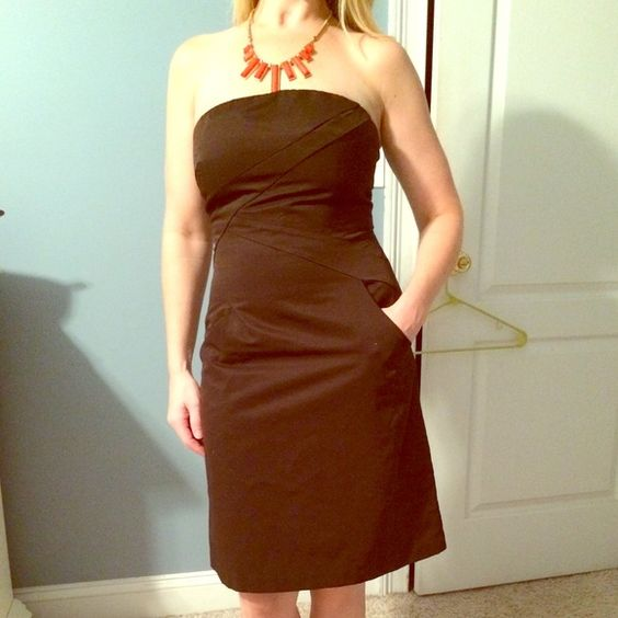 Brown strapless Limited dress with pockets Dark brown dress from The Limited with pockets. Worn only one time. The Limited Dresses
