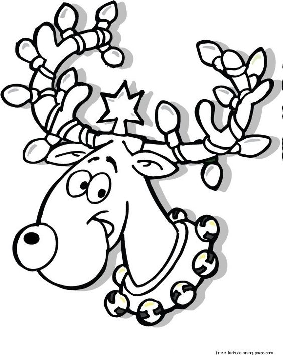Printable Christmas Reindeer In Lights Coloring Pages For Kids Free