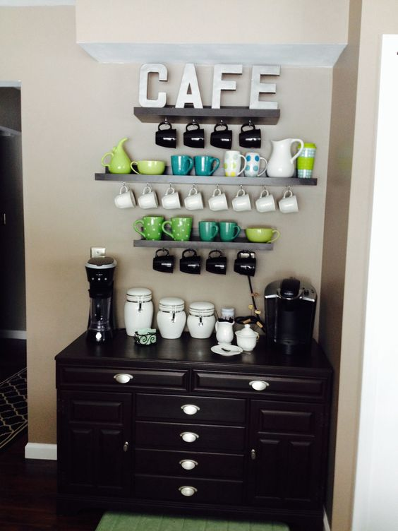 My coffee bar!! Made from garage sale finds, DIY projects, and some great deals from home goods and garden ridge.