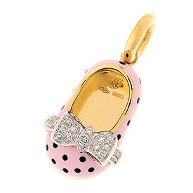 18K pink with polka dot enamel shoe with diamond bow of .11 cts
